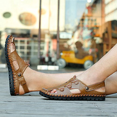 CFP 9528 Mens Casual Clogs Leisure Charming Breathable Beach Leather Sandals Brown vFBIJ3