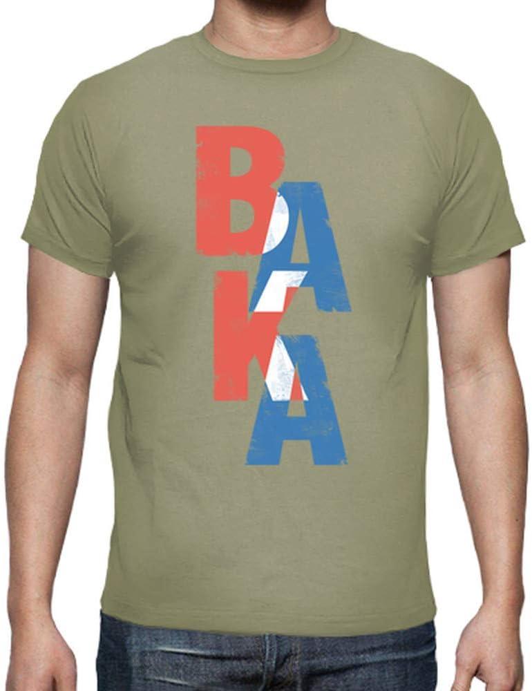 latostadora - Camiseta Baka Palabra Japonesa para Hombre Caqui S: Amazon.es: Ropa y accesorios