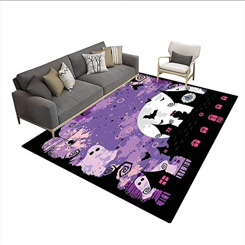 Carpet,Halloween Midnight Image with Bleak Background Ghosts Towers and Bats,Area Silky Smooth Rugs,Purple Black 6'6