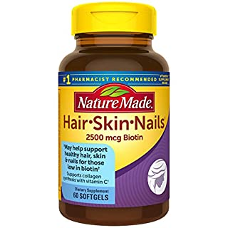 Nature Made Hair, Skin & Nails with 2500 mcg of Biotin Softgels, 60 Count for Supporting Healthy Hair, Skin and Nails† (Packaging May Vary)