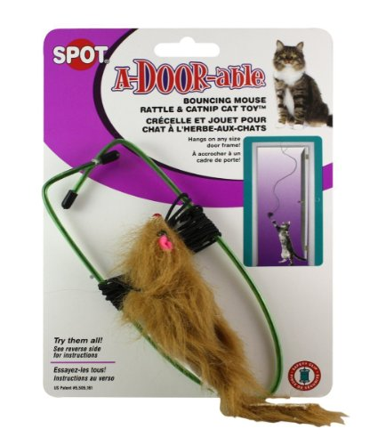Ethical A-Door-Able Bouncing Mouse Cat Toy , Assorted Colors - A Door Able Cat Toy