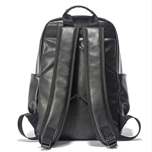 WTUS Mujer y Hombre de ocio de los hombres de la bolsa mochila mochila Pu puro macho doble bolsa de gran capacidad de la retro negro