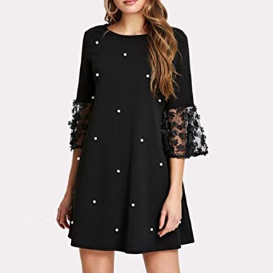 Sonojie damska sukienka polka w kropki, seksowna sukienka z okrągłym dekoltem, rękawy siÓdme, seksowna sukienka: Odzież