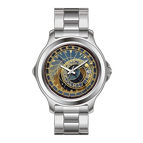 FDC Christmas Gift Watches Men's Fashion Japanese Quartz Date Stainless Steel Bracelet Watch Prague Astronomical Clock ()