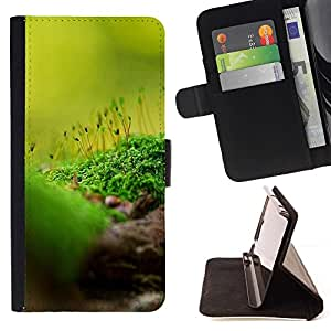 For HTC One M7 Case , Naturaleza Hermosa Forrest Verde 85- la tarjeta de Crédito Slots PU Funda de cuero Monedero caso cubierta de piel