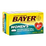 Bayer Womens Low Dose 81mg Aspirin with a Calcium Carbonate Buffer Coated Caplets - 60 per pack -- 24 packs per case.