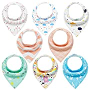 Baby Bandana Drool Bibs 8 Pack Set for Teething and Drooling Extra Absorbent 100% Organic Cotton for Boys Girls by YOOFOSS