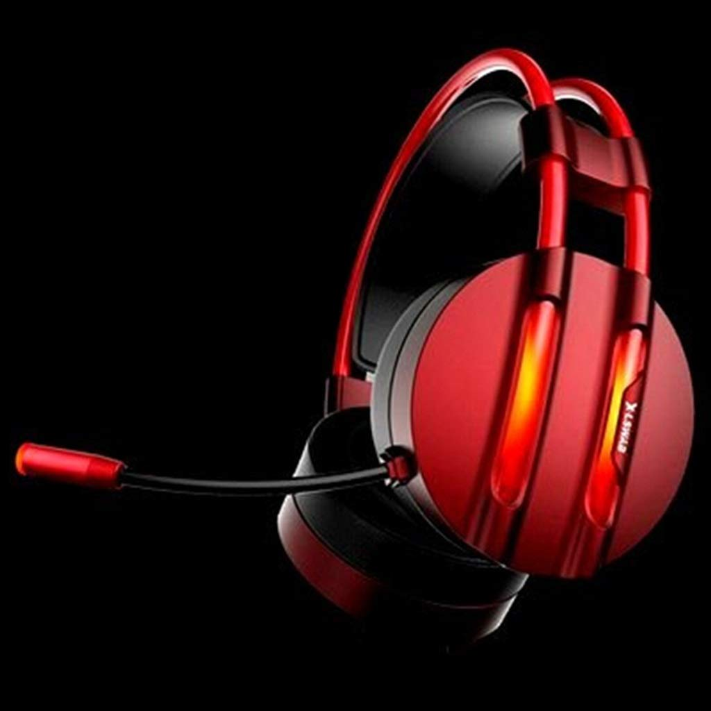 Color : Red OEAR USB Interface Desktop PC Head-Mounted Earphone Wired with Voice Microphone Game Headset Gaming Hearing Stereo Surround Bass Headphone