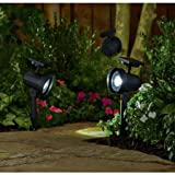 Better Homes and Gardens 6-Piece Solar-Powered Adjustable Spotlight Set, Black Finish