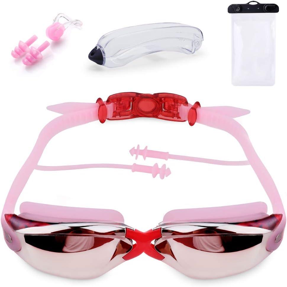 Gafas de Natación, Incluir Enchufe de Oreja + Clip de Nariz, Protección UV y Anti-Niebla, Ajustable para Hombre/Mujere/Adultos/Niños de Juventud + Funda Impermeable(como Regalo)
