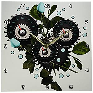 3dRose DPP_102671_2 Cool Steampunk Barometer and Aqua Roses-Wall Clock, 13 by 13-Inch