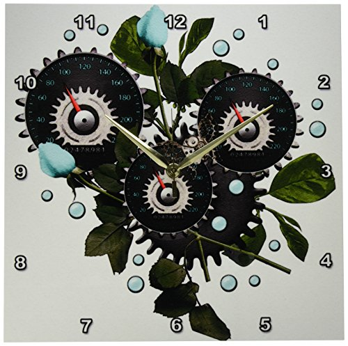 3dRose DPP_102671_2 Cool Steampunk Barometer and Aqua Roses-Wall Clock, 13 by 13-Inch 3