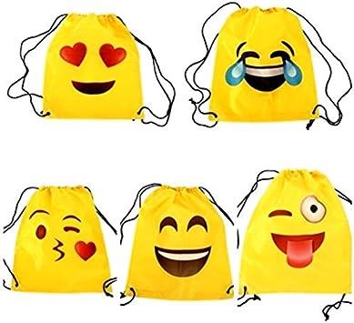 Lote de 20 Mochilas Petate Emoticonos - Mochilas Escolares, Merienda, Infantiles, Infantil para niños y niñas. Regalos, Detalles y Recuerdos Invitados de Bodas, Comuniones, Cumpleaños