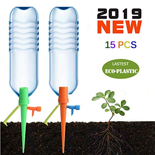 WJS 【Premium Plastic】 Plant SelfWatering Spikes Device 15PCS Plant WatererDrip Irrigation System with Valve and Bracket WorksasWatering Bulbs Globes Stakesfor Potted Flower Vegetable GardenLawn