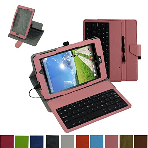 Acer Iconia One 8 B1-810 / Tab 8 A1-850 USB Keyboard Case,Mama Mouth Rotary Stand PU Leather Cover With Removable Micro USB Keyboard for 8