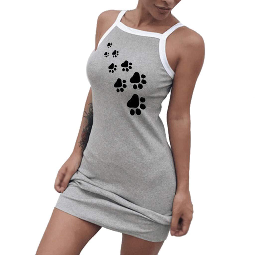 Huaze 2019 Women's Casual Fashion Sexy Casual Vest Strap Tight Stretch Mini Dress (Gray, M)