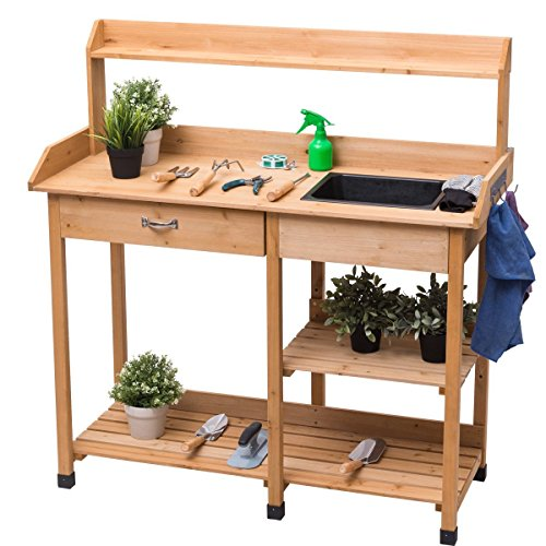 Cheap  Giantex Potting Bench Solid Wood Outdoor Garden Patio Planting Workstation W/ Storage..