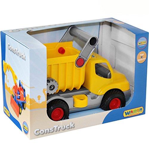 Muldenkipper mit beweglicher Kippmulde und Gummireifen, 29 x 16 cm || Klein-Kinder Auto Kipper LKW Baufahrzeug Sandkasten Spielzeug Fahrzeuge