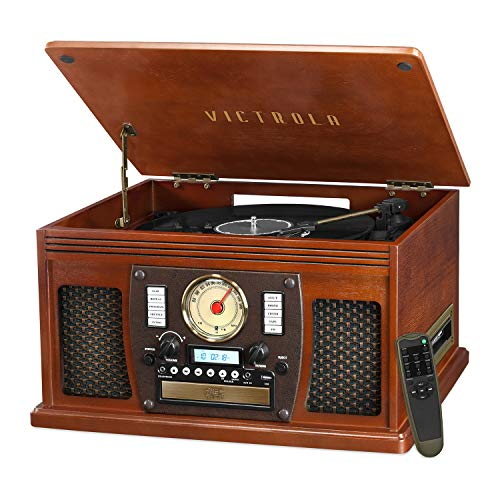 Victrola Navigator 8-in-1 Classic Bluetooth Record Player with USB Encoding and 3-speed Turntable (Turquoise Record Player)