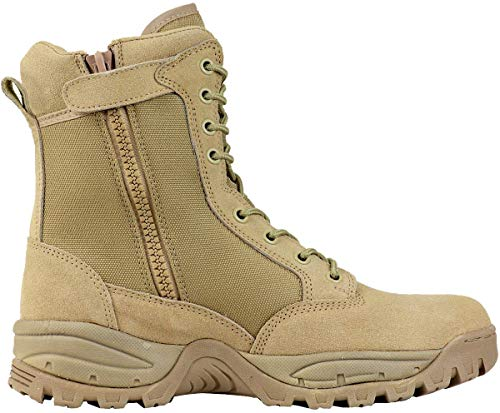 Maelstrom Men's TAC FORCE 8 Inch Military Tactical Duty Work Boot with Zipper, Tan, 9.5 W US