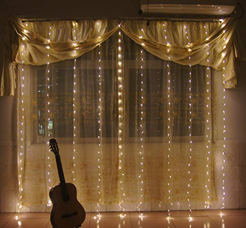 GreenSun LED Lighting 300 LEDs Window Curtain String Light USB String Fairy Drape Lights for Birthday, Wedding, Party, Home, Garden, Bedroom (with Hooks) - Lighting Window