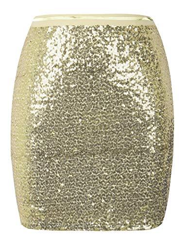 PrettyGuide Women's Sequin Skirt Sparkle Bodycon Mini Skirt Clubwear Cocktail Dress L Gold ()