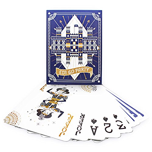 EDI SUPPLIES Super Jumbo Playing Cards Full Poker Deck with Huge Numbers Size 11.5 x 8.25 inches (Dark Blue)