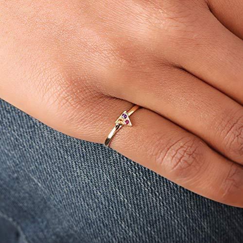 Genuine 0.12 Ct. Multi Sapphire Gemstone Triangle Shape Ring Solid 14k Yellow Gold Handmade Jewelry