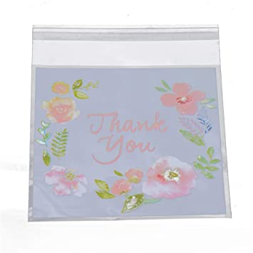 400 PCS Thank You Pink Flower Cookie Packaging Self-Adhesive Plastic Bags for Wedding Party Bakery Party