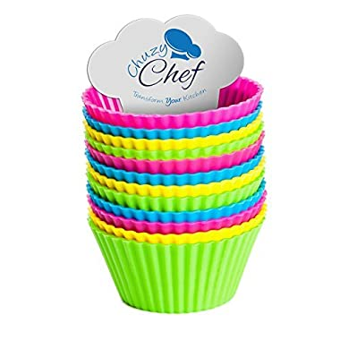 Reusable Silicone NonStick Baking Cups- Assorted Colors Cupcake Holder Set- 12 Pieces by Chuzy Chef