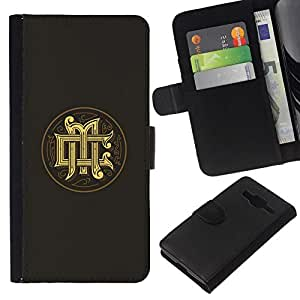 All Phone Most Case / Oferta Especial Cáscara Funda de cuero Monedero Cubierta de proteccion Caso / Wallet Case for Samsung Galaxy Core Prime // iniciales caligrafía oro logo medieval gris