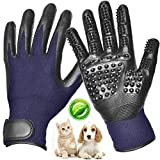 [Upgraded 2019] Pet Grooming Glove - Gentle Deshedding Brush Glove Left & Right, Enhanced Five Finger Design - Efficient Pet Hair Remover Mitt - Bathing Massage for Long & Short Hair Dogs, Cats, Horse