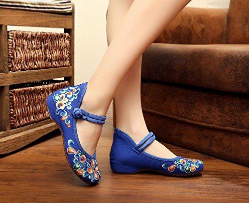 DESY Gestickte Schuhe, Sehnensohle, ethnischer Stil, weibliche Tuchschuhe, Mode, bequem, lässig innerhalb der Zunahme , blue , 36