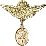 Gold Filled Baby Badge with St. Agatha Charm and Angel w/Wings Badge Pin 1 1/8 X 1 1/8 inches