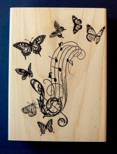 Butterfly collage rubber stamp WM P26