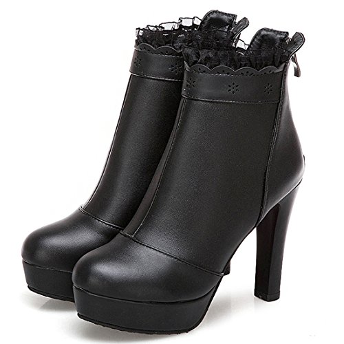 Medio a Pizzo Nero YE Boots Tacco Donna Scarpe Eleganti Invernali Blocco 11cm Stivaletti con Ankle e Autunnali ypBwHqAp