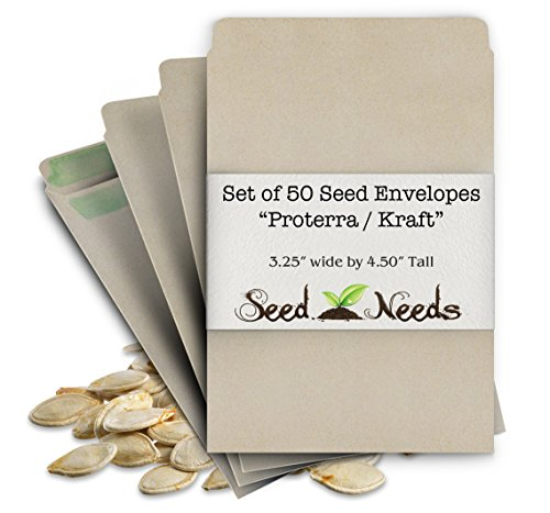 "Set of 50 Proterra Self Sealing Seed Envelopes (Die 2b) 3.25"" x 4.50"""