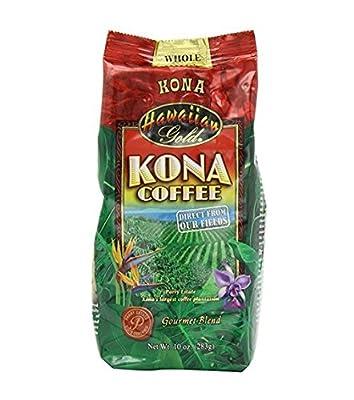 Hawaiian Gold Hawaiin Gold Kona Coffee whole beens 10z, Gourmet Blend (2 packs)