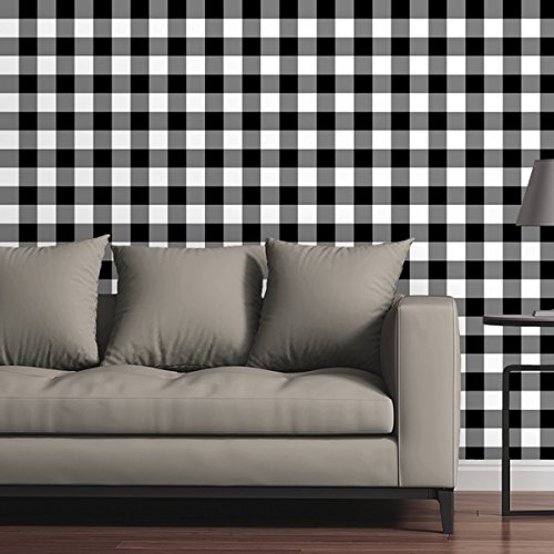 White Plaid Wallpaper (Canvas On Demand Removable Wallpaper Tile - Gingham Plaid in Black and White)