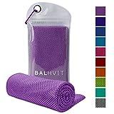 Balhvit Cooling Towel, Cool Towel Instant Cooling Relief, Chilling Neck Wrap, Ice Cold Scarf Men Women, Microfiber Bandana - Evaporative Chilly Towel Yoga Golf Travel (Purple, 4012)