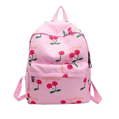OULII Mochilas Escolares Casual Lona Portátil Bolso Daypack Mochila para Niñas Adolescentes - Tipo Redondo (