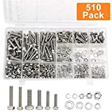 YaeTek 510 Pieces Flat Hex Stainless Steel Screws Bolts Nuts Lock and Flat Gasket Washers Assortment Kit