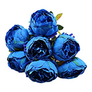 Vintage Artificial Peony Flowers, Continental 7 Head Silk Flowers Bouquet Perfect for High-end Wedding Home Decoration (Blue) 31