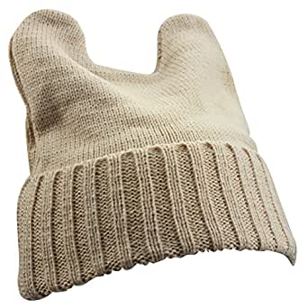 Girl's Winter Cute Devil Horn Cat Ear Slouchy Crochet Knit Beanie Ski Hat Cap (Beige)