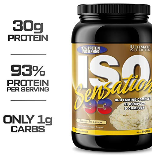 Ultimate Nutrition ISO Sensation 93 100% Whey Protein Isolate Powder with 30 Grams of Protein - Low Carb, Keto Friendly, Banana Ice Cream, 2 Pounds