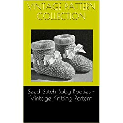 Seed Stitch Baby Booties - Vintage Knitting Pattern