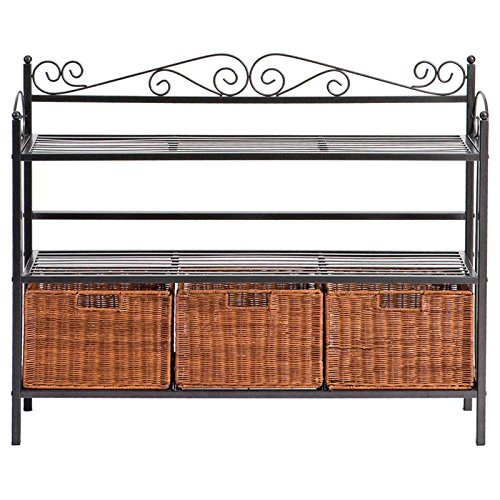 Celtic Bakers Kitchen Storage Unit with Baskets in Textured Gunmetal Gray Finish