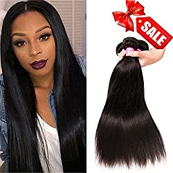 QinMei Brazilian Hair Straight 8A Grade 100% Unprocessed Virgin Human Hair 3 Bundles Weave Natural Color (16 18 20inches)