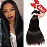 QinMei Hair Brazilian Virgin Straight Hair 3 Bundles 8A Virgin Straight Brazilian Hair Weave Extensions Natural Black Color (10 10 10) For Sale