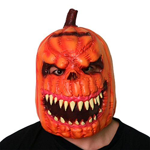 Halloween Latex Pumpkin Head Mask, Franterd Halloween Scary Latex Adult Costume Face Party Cosplay Props - Funnyhalloween Costumes
